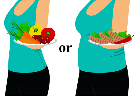 The choice. Thin and fat. Proper nutrition. Incorrect food. Girl with a bowl. Healthy eating. Healthy Lifestyle. Vector illustration.