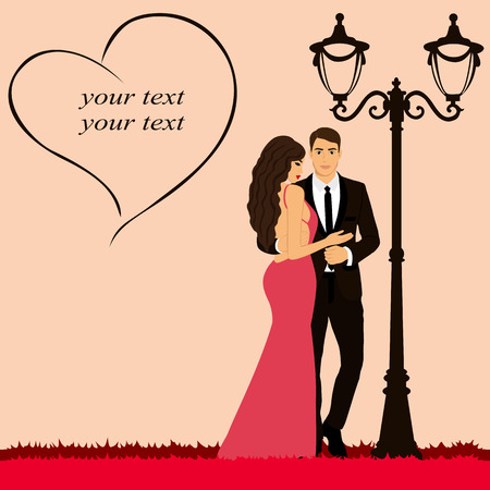 Valentines Day. Postcard for Valentines Day. Couple near the street lamp. Also suitable for invitation card. Vector illustration.