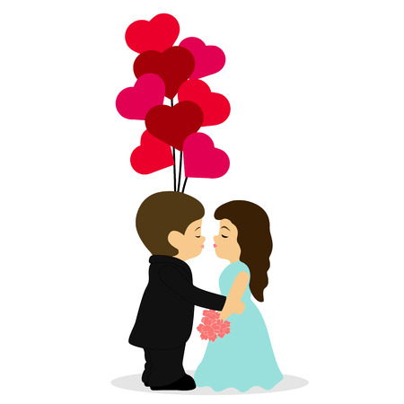 Valentines Day. A loving couple kisses. Postcard for Valentines Day. Vector illustration.