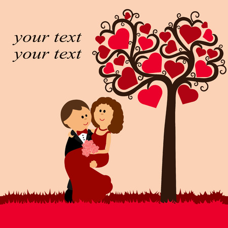 Valentines Day. Card with the newlyweds on the background with
