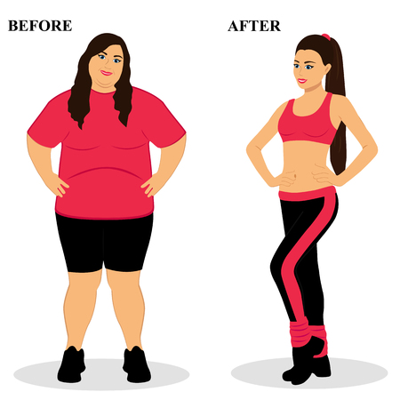 Thin and fat. Before and after. Healthy Lifestyle.