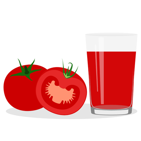 Healthy Lifestyle. Freshly squeezed juice in a glass. Tomato juice. Health. Vector illustration