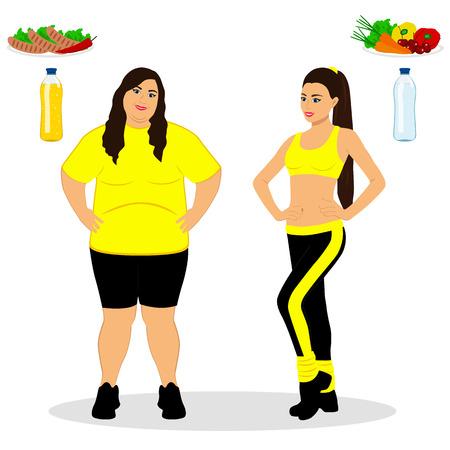 Dünn und fett. Richtige Ernährung. Von fett bis dünn. Vorher und nachher. Gesunder Lebensstil. Die Frau wird dünn. Isolierte Objekte Vektor-Illustration.