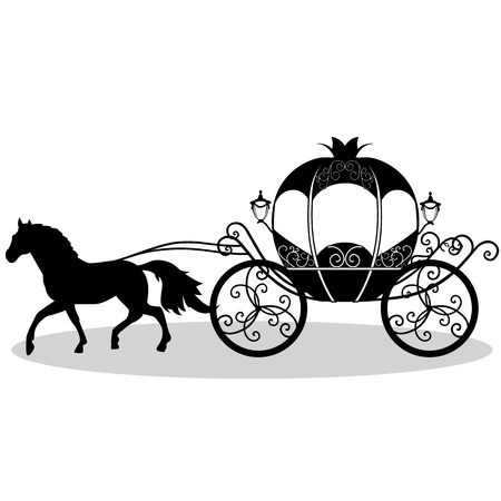 Coach. Wedding carriage. Vintage carriage with the horse