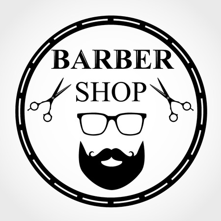 Isolated barber shop logo with glasses, full bread silhouette and scissors.