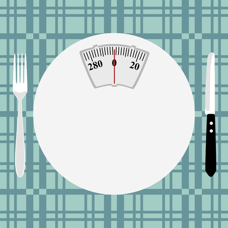 Weighing scale plate with cutlery on a patterned background. Çizim