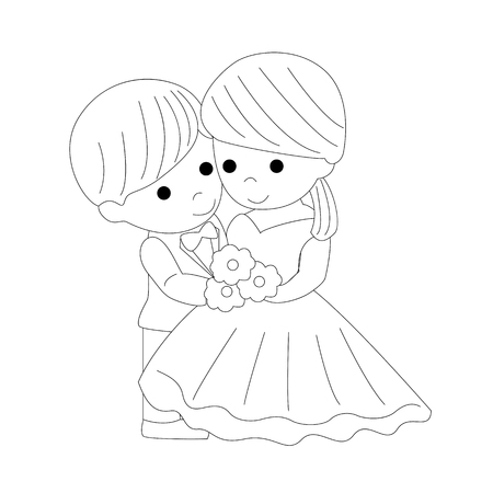 The bride and groom. The black contour of a bride and groom isolated on white background. Vector illustration.