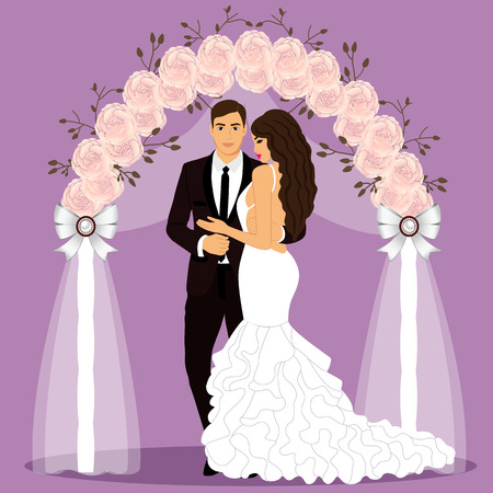 Wedding arch with bride and groom. Vector illustration.