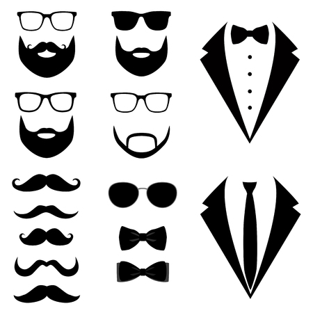Mens tuxedo, mustaches, glasses, beard.