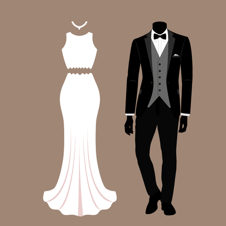 Wedding card with the clothes of the bride and groom. Illustration