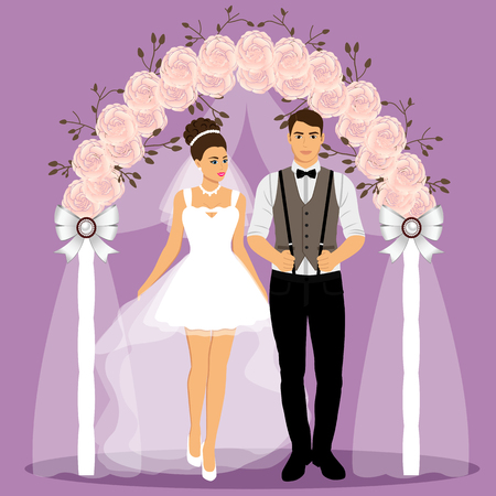 Wedding arch with bride and groom.