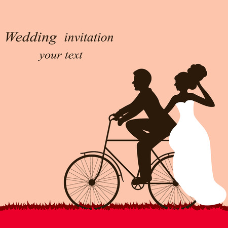 Wedding card with a bicycle, couple in love.