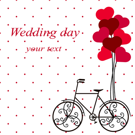 Wedding card with a decorative bicycle.