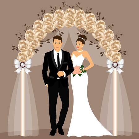 Wedding arch with bride and groom. Stock Photo - 102656351