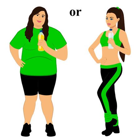 Illustrazioni prima e dopo di una donna che diventa magra con una corretta alimentazione e uno stile di vita sano.