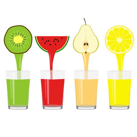 Freshly squeezed juice in a glass. Healthy Lifestyle. Health. Vector illustration Ilustração