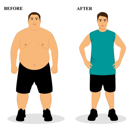 Before and after illustrations of a man that becomes thin with proper nutrition and healthy lifestyle.