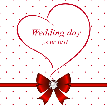 Wedding card with heart and bow. Stock Photo