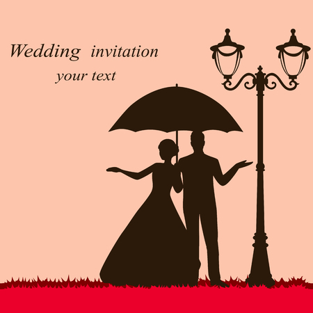 Bride and groom. Wedding card with the newlyweds with an umbrella. Also suitable for invitation card. Vector illustration.