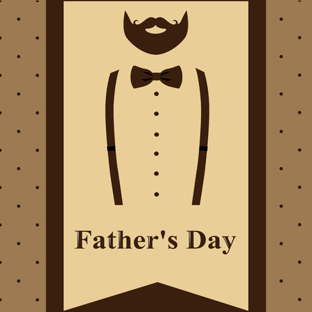 Father's Day. Greeting card with a beard and suspenders for Father's Day. Retro style. Vector illustration.