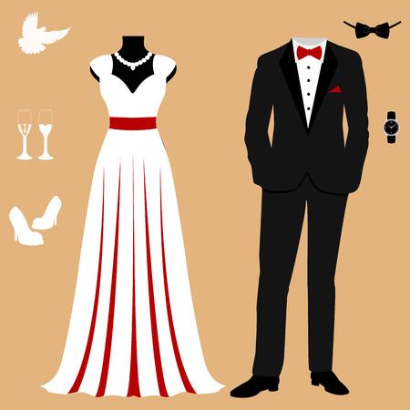 Invitación de boda con la ropa de los novios. Conjunto de boda. Hermoso vestido de novia y esmoquin. Ilustración vectorial