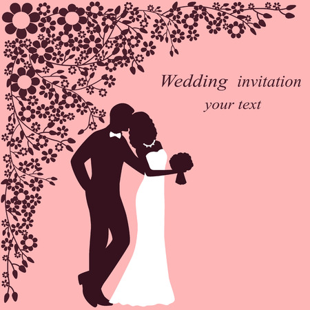 Invitation card with the bride and groom on a floral background. 向量圖像