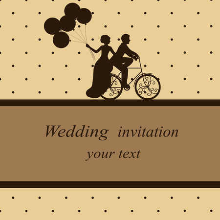 Invitation card with newlyweds on a bicycle in vintage style. Br Illustration