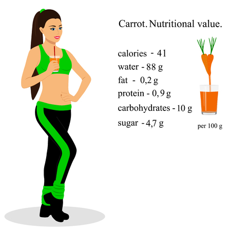 Chica con jugo. Zanahoria. Valor nutricional. Estilo de vida saludable.