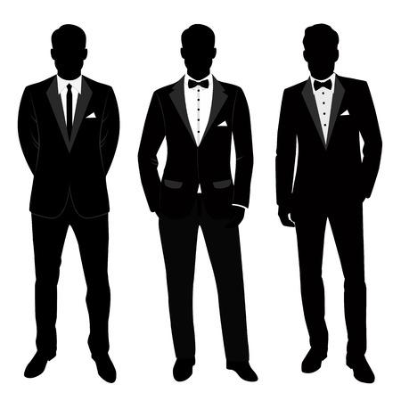 Traje y esmoquin para hombre de boda. Colección. El novio. Ilustración de vector.