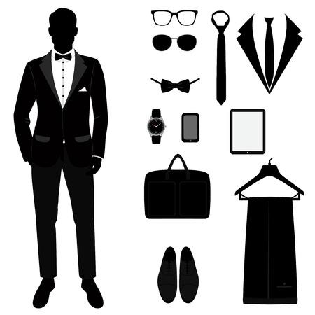 Mens tuxedo. Mens Accessories. Wedding mens set Иллюстрация