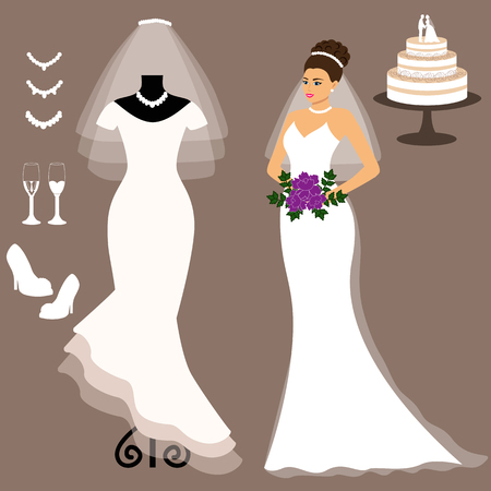 A set of wedding dresses. The choice. Clothes for the bride. Icons of wedding dresses. Vector illustration.