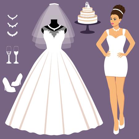 Un ensemble de robes de mariée. Le choix. Vêtements pour la mariée. Icônes de robes de mariée. Illustration vectorielle.