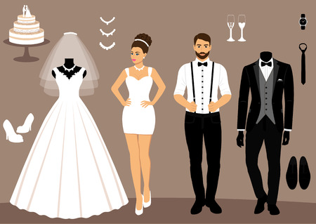 A set of wedding clothes. The choice. Clothes for the bride and groom. Icons of wedding clothes. Vector illustration.