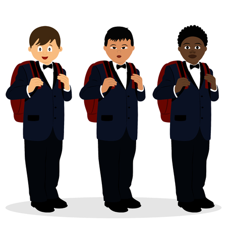 A boy in a suit. Schoolboy with a schoolbag. American, Chinese, African. Collection. Vector illustration