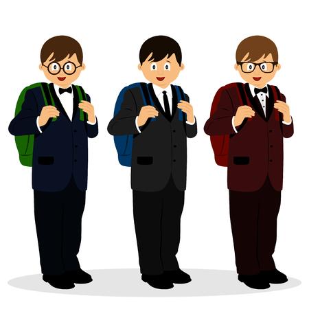 A boy in a suit. Schoolboy with a schoolbag. Collection. Vector illustration. Иллюстрация
