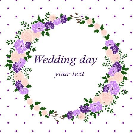 Invitation card with flower frame. Wedding invitation. Иллюстрация