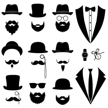 Esmoquin para hombre. Bigote, anteojos, barba, pipa y sombrero de copa.