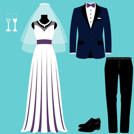 Hochzeitskarte mit den Kleidern der Braut und des Bräutigams. Hochzeitsset. Schönes Hochzeitskleid und Smoking. Vektorillustration.