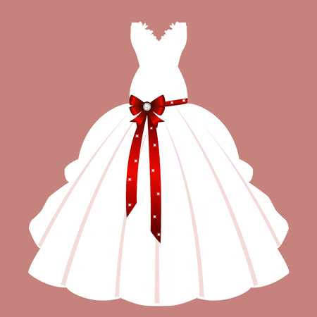 Wedding card with the clothes of the bride. Beautiful wedding dress. Vector illustration.