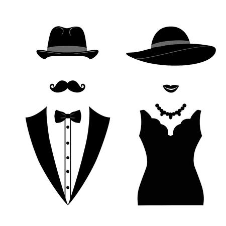Icona di gentiluomo e signora isolato su priorità bassa bianca. Illustrazione vettoriale