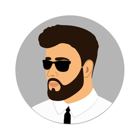 Man icon. Gentleman. A man with a beard and mustache.