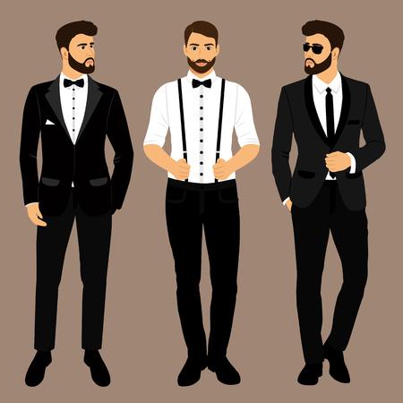 Mężczyzna w szelkach. Pan młody. Odzież. Ślubny garnitur męski, smoking. Ilustracja wektorowa
