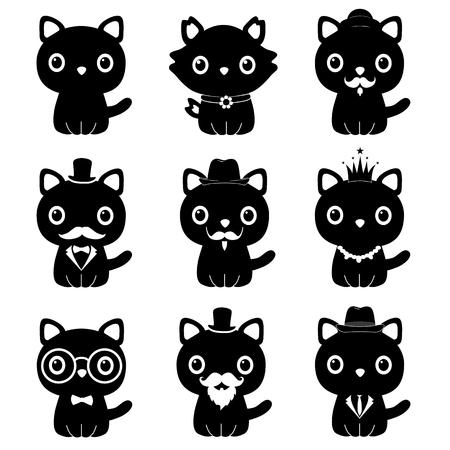 Gato con esmoquin. Un gato de dibujos animados es un caballero. Símbolo. Ilustración de vector