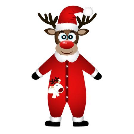 Christmas Reindeer. Christmas card. Funny reindeer in a suit.