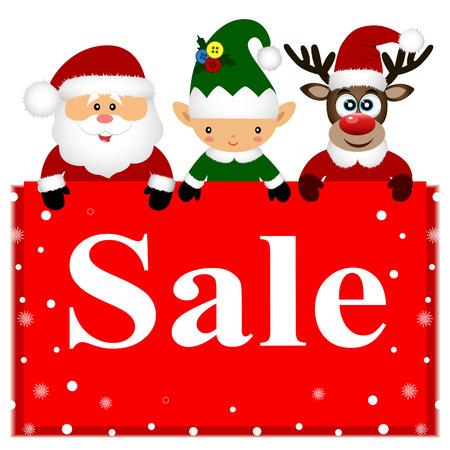 Christmas sale. Christmas deer, Christmas Elf and Santa with ban