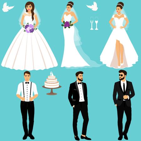 Bride and groom. Couple. Wedding set. Collection. Фото со стока