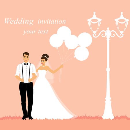 Bride and groom. Wedding card with the newlyweds with balloons. Also suitable for invitation card. Vector illustration. 向量圖像