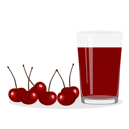 Healthy Lifestyle. Freshly squeezed juice in a glass. Cherry. Cherry juice. Health. Vector illustration