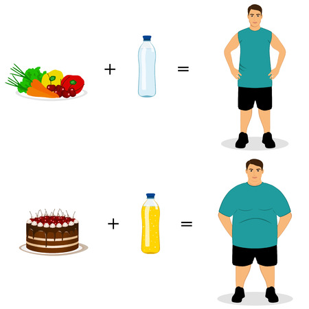 Healthy Lifestyle. The choice. Thin and fat. Proper nutrition. From fat to thin. Before and after. Isolated objects. Vector illustration. Illustration