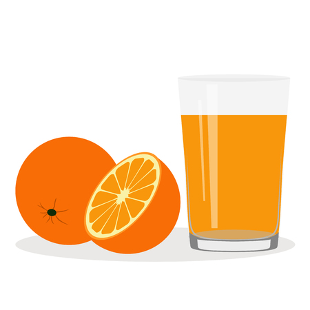 Healthy Lifestyle. Freshly squeezed juice in a glass. Orange. Orange juice. Health. Vector illustration
